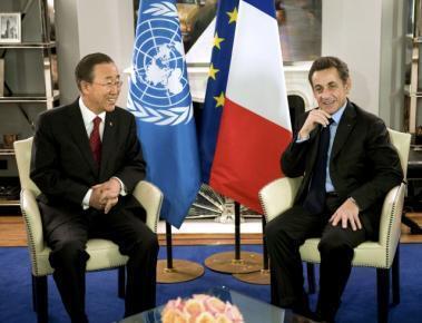 Nicolas Sarkozy da  Ban Ki Moon na ganawa a wurin taro