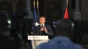 Emmanuel Macron katika mkutano na waandishi wa habari huko Beirut, Agosti 6, 2020.