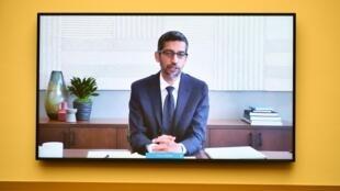Le PDG de Google Sundar Pichai lors de son audition, le 29 juillet 2020.
