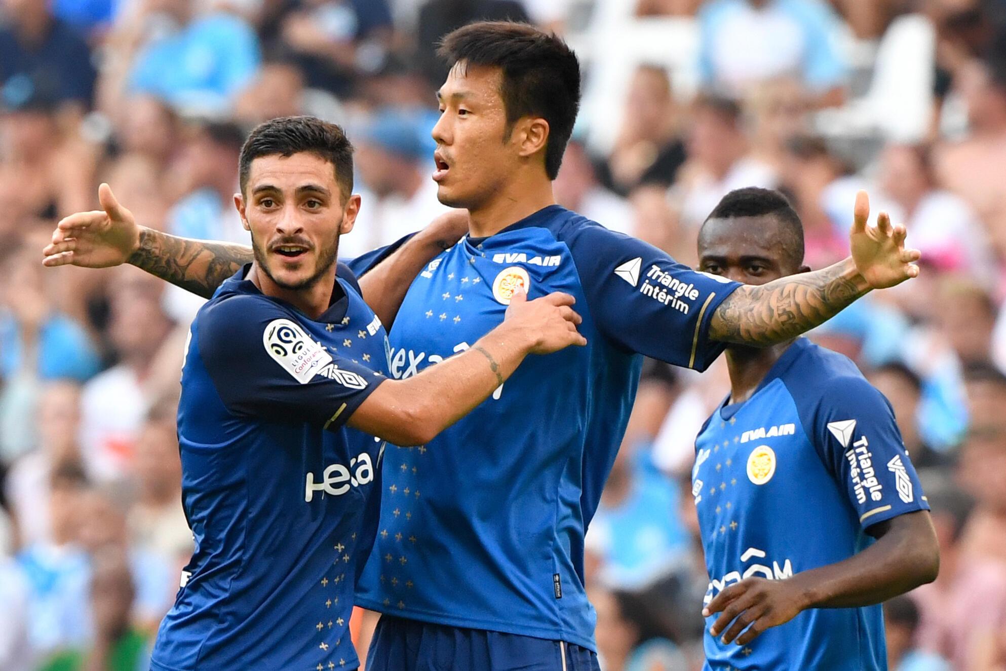 Hyun-jun Suk (Reims), lors du match contre l'Olympique de Marseille. Stade du Vélodrome à Marseille, le 10 août 2019.