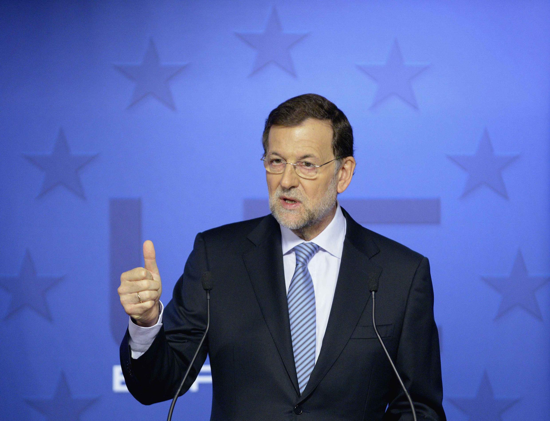 Le chef du gouvernement espagnol, Mariano Rajoy, va s'appuyer sur ses résultats économiques pour se présenter à un deuxième mandat en novembre 2015. Ici lors du sommet européen, le 19 octobre 2012.