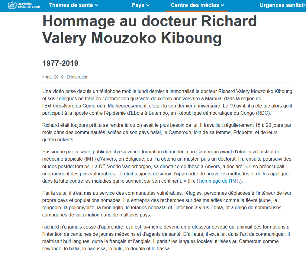 Capture d'écran de l'hommage au docteur Richard Mouzoko publié sur le site de l'OMS