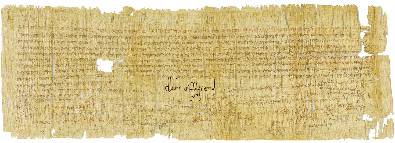 Signature de Clovis II dans un acte du 22 juin 654 : Chlodovius rex sub(scripsi).