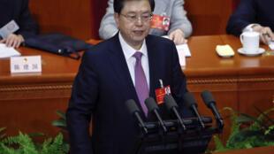中国人大审议《慈善法》草案,,图为全国人大常委会委员长张德江,2016年3月9日