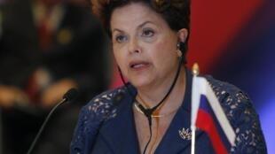 A presidenta brasileira, Dilma Rousseff, durante o fechamento da 4ª Cúpula do BRICS.