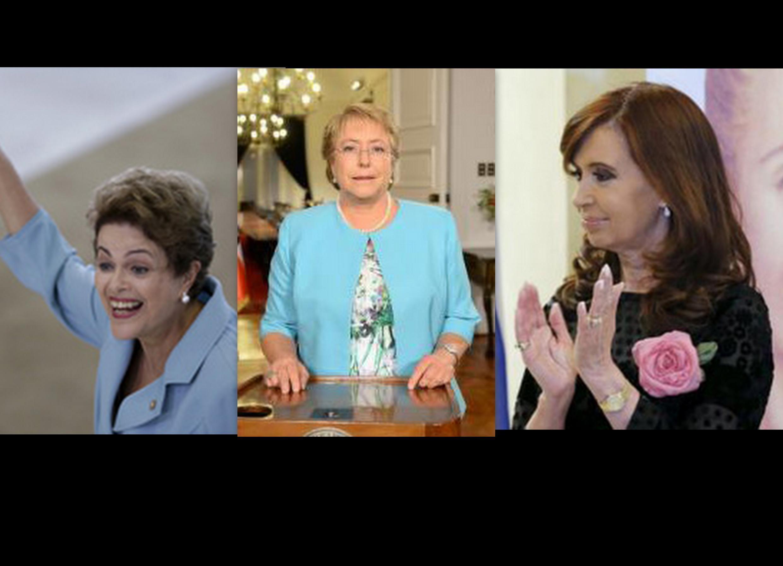 As presidentes do Brasil, Dilma Rousseff, do Chile, Michele Bachelet, e da Argentina, Cristina Kirchner.