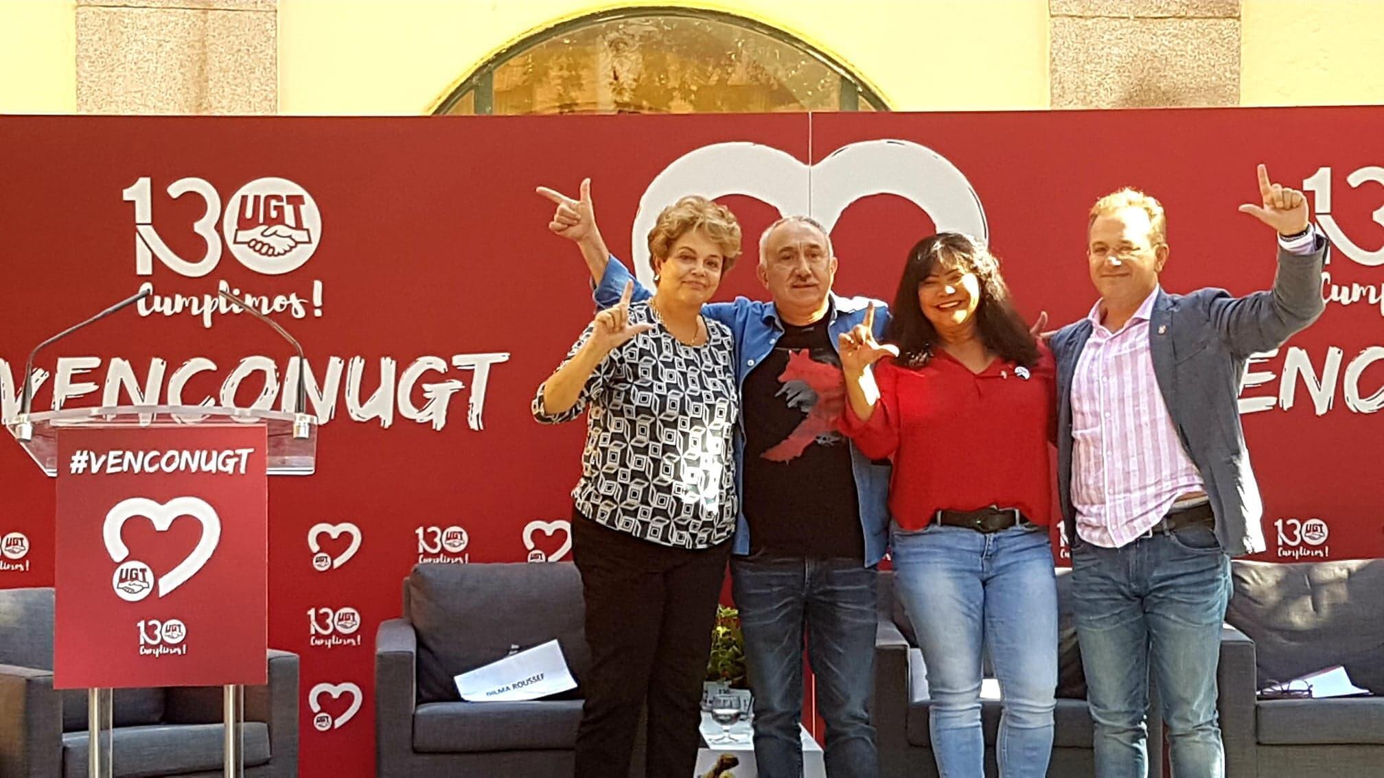 Da esquerda para a direita: A ex-presidenta Dilma Rousseff; os sindicalistas Pepe Alvarez e Pedro Hojas, da UGT; e Edneia da Silva, coordenadora do Partido dos Trabalhadores em Madri.