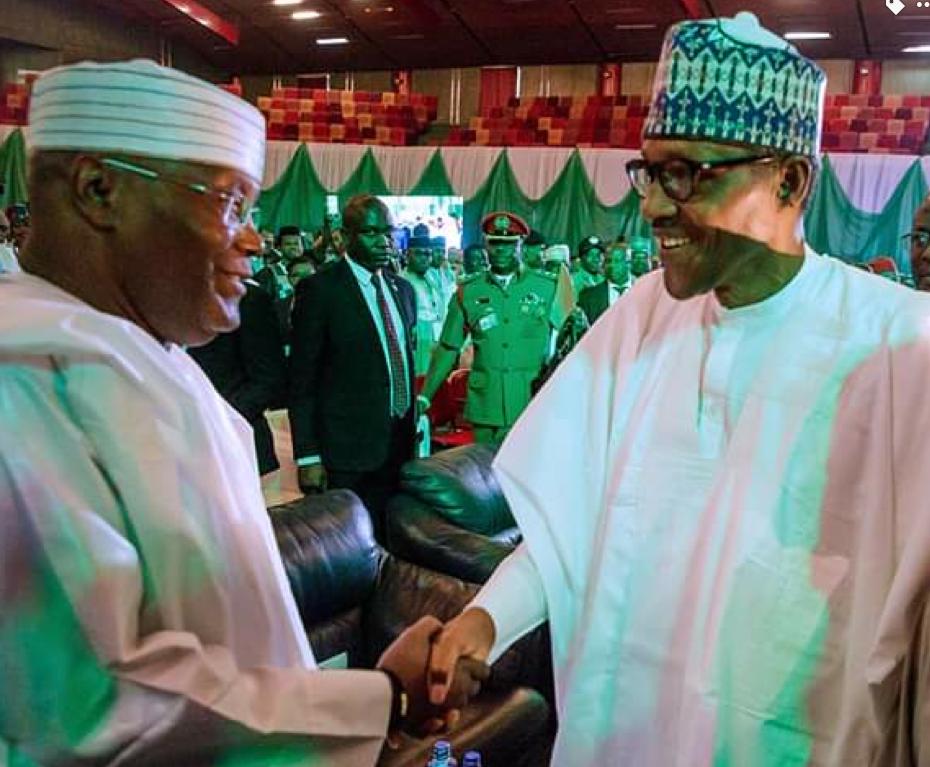 Jigon dan takarar jam'iyyar adawa a zaben da ya gabata Atiku Abubakar da shugaban Najeriya Mohammadu Buhari