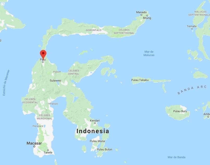 Ubicación de la ciudad de Palu, Indonesia.