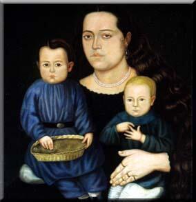 'Retrato de la Señora doña Francisca Valdivia de Chávez e hijos', Hermenegildo Bustos (1862).