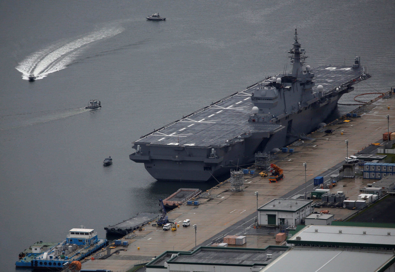 Chiến hạm chở trực thăng Kaga tại căn cứ Hải quân Sasebo, đảo Kyushu, Nhật Bản ngày 06/04/2018.