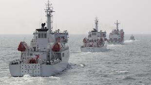 Các tàu tuần duyên Đài Loan trong cuộc diễn tập ngày 30/03/2013.