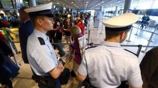 Security at European airports, Frankfurt, Germany, 3 July 2014.