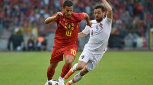 Eden Hazard, médio belga (esquerda), e Bernardo Silva, avançado português (direita), durante o jogo amigável entre a Bélgica e Portugal (0-0) a 2 de Junho.