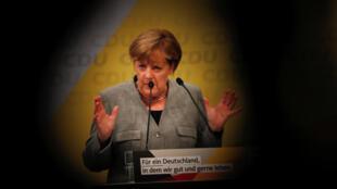 Angela Merkel en el mitin de la CDU en Dortmund, el 12 de agosto de 2017.