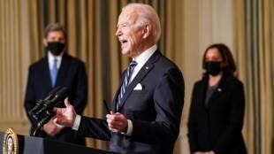 Le président des Etats-Unis Joe Biden et la vice-présidente Kamala Harris, à la Maison Blanche, le 27 janvier 2021.