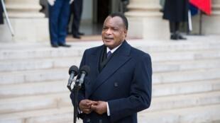 Le président congolais, Denis Sassou Nguesso, à l'Elysée, le 9 avril 2013.