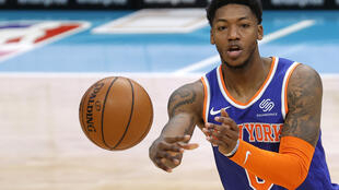 Elfrid Payton of the New York Knicks, which is welcoming back fans to Madison Square Garden for the first time in almost a year
