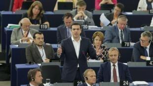 O primeiro-ministro grego, Alexis Tsipras, discursou nesta quarta-feira (8), no Parlamento Europeu, em Estrasburgo.