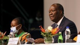 Rais wa Cote d' Ivoire Alassane Ouattara wakati wa mkutano wa kamati ya siasa ya chama cha RHDP Julai 29, 2020 huko Abidjan.