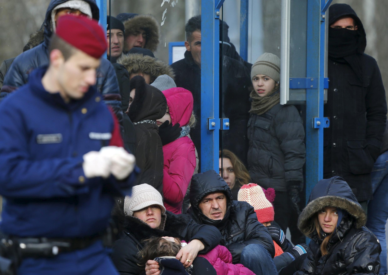 Des migrants kossovars interpellés après avoir franchi illégalement la frontière serbo-hongroise, le 7 février 2015.