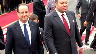 Morocco's King Mohammed VI with French President François Hollande in Casablanca