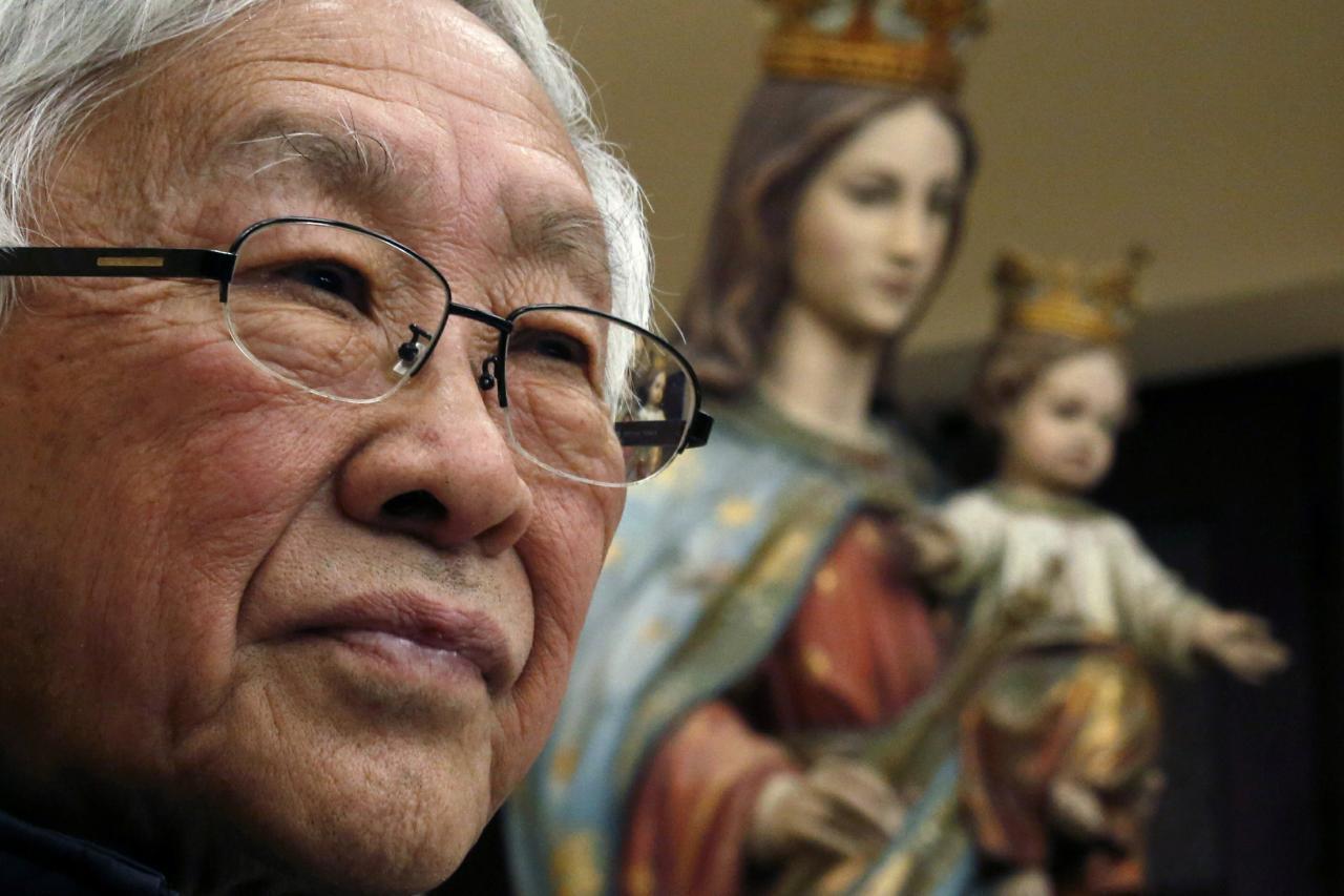 资料图片:香港荣休主教陈日君枢机。摄于2019年11月