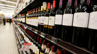 French wine on supermarket shelves