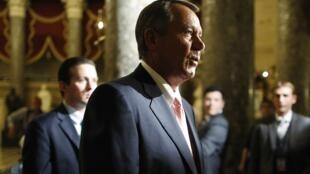 O presidente da Câmara dos Representantes, o republicano John Boehner, participação da votação do projeto de lei de finanças na noite desta segunda-feira, 30 de setembro de 2013.