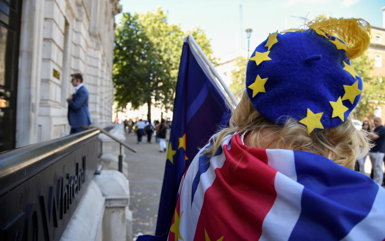 Một người dân Anh chống Brexit trước Văn phòng Nội các tại Luân Đôn, ngày 29/07/2019.