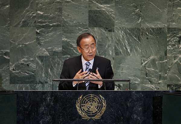 Le secrétaire général de l'ONU, Ban Ki-moon, à la tribune de l'Assemblée générale.