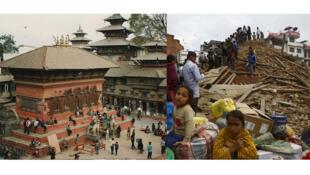 Hình ảnh đối lập quảng trường Durbar ở Katmandou, trước (trái) và sau trận động đất hôm 25/04/2015.