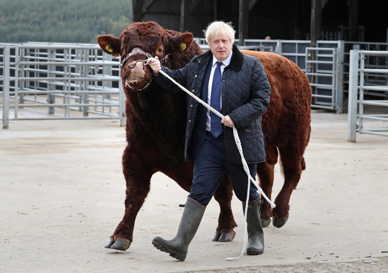 Primeiro-ministro visita fazenda em Darnford, na Escócia, em clima de campanha pelo Brexit.
