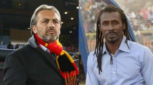 Sébastien Desabre, coach de l'équipe ougandaise et Aliou Cissé, entraîneur des Lions du Sénégal.