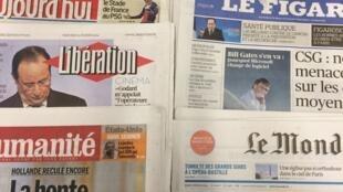 Primeiras páginas diários franceses 05/02/2014.