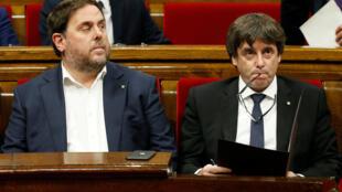 西班牙加泰羅尼亞自治區領導人卡萊斯•普伊格德蒙特資料圖片