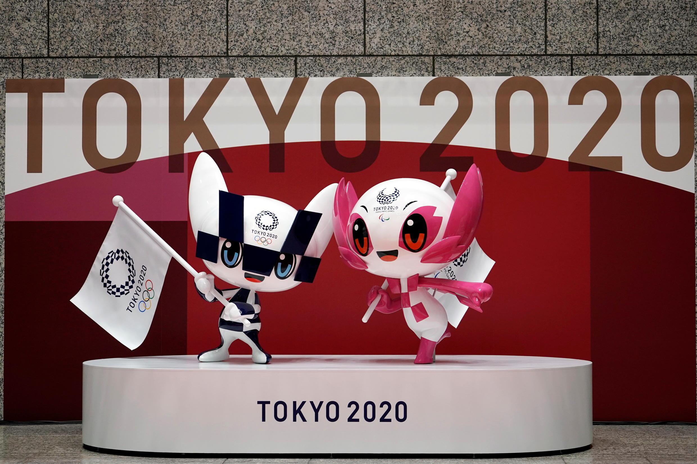 olympic mascot  Miraitowa, left, and Someity, right,
