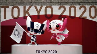 olympic mascot  Miraitowa, left, and Someity, right,