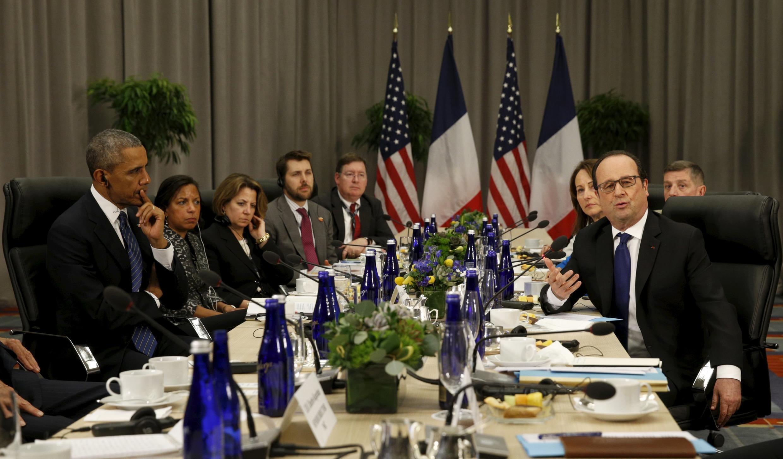 Tổng thống Hoa Kỳ Barack Obama và đồng nhiệm Pháp François Hollande hôm 31/03/ 2015 tại Washington.