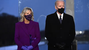 Joe Biden and wife Jill Biden attend a Covid-19 Memorial at the Lincoln Memorial in Washington on January 19
