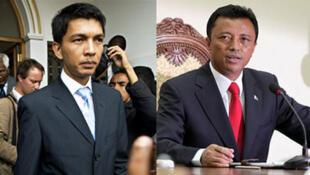 Le président malgache de la transition Andry Rajoelina (g) et le président déchu Marc Ravalomanana.