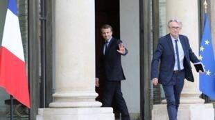Jean-Claude Mailly à sa sortie de l'Elysée après une réunion avec Emmanuel Macron, le 12 octobre 2017.