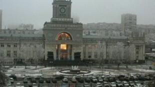 Кадр записи с камеры видеонаблюдения, запечатлевшей вспышку во время взрыва на ж/д вокзале Волгограда 29/12/2013