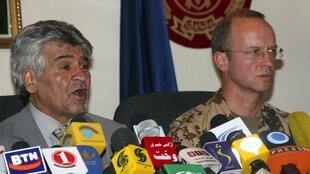 Afghan defense spokesperson Gen. Mohammad Zahir Azimi (L) and , and Gen. Josef Blotz, Nato's International Security Assistance Force spokesperson, talking to journalists about Wikileaks, Kabul, 28 July