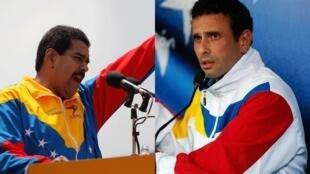 Os dios principais candidatos à sucessão de Hugo Chávez, Nicolás Maduro (à esq.) e Henrique Capriles Radonsky (à esq.), trocam acusações no início de uma campanha que promete ser agitada..