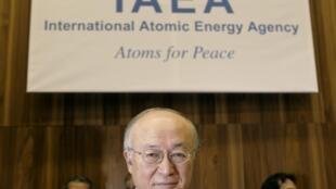 O diretor da Agência Internacional de Energia Atômica, Yukiya Amano, participa de encontro com governadores em Viena.