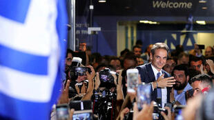 New Democracy conservative party leader Kyriakos Mitsotakis speaks outside party's headquarters, after the general election in Athens, Greece.