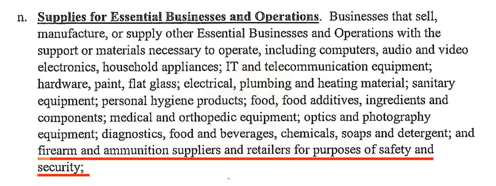 """Sceenshot of the 20 March, 2020 Illinois Executive Order in Response to Covid-19, listing gun shops as """"essential services"""" meaning that they can remain open to the public."""