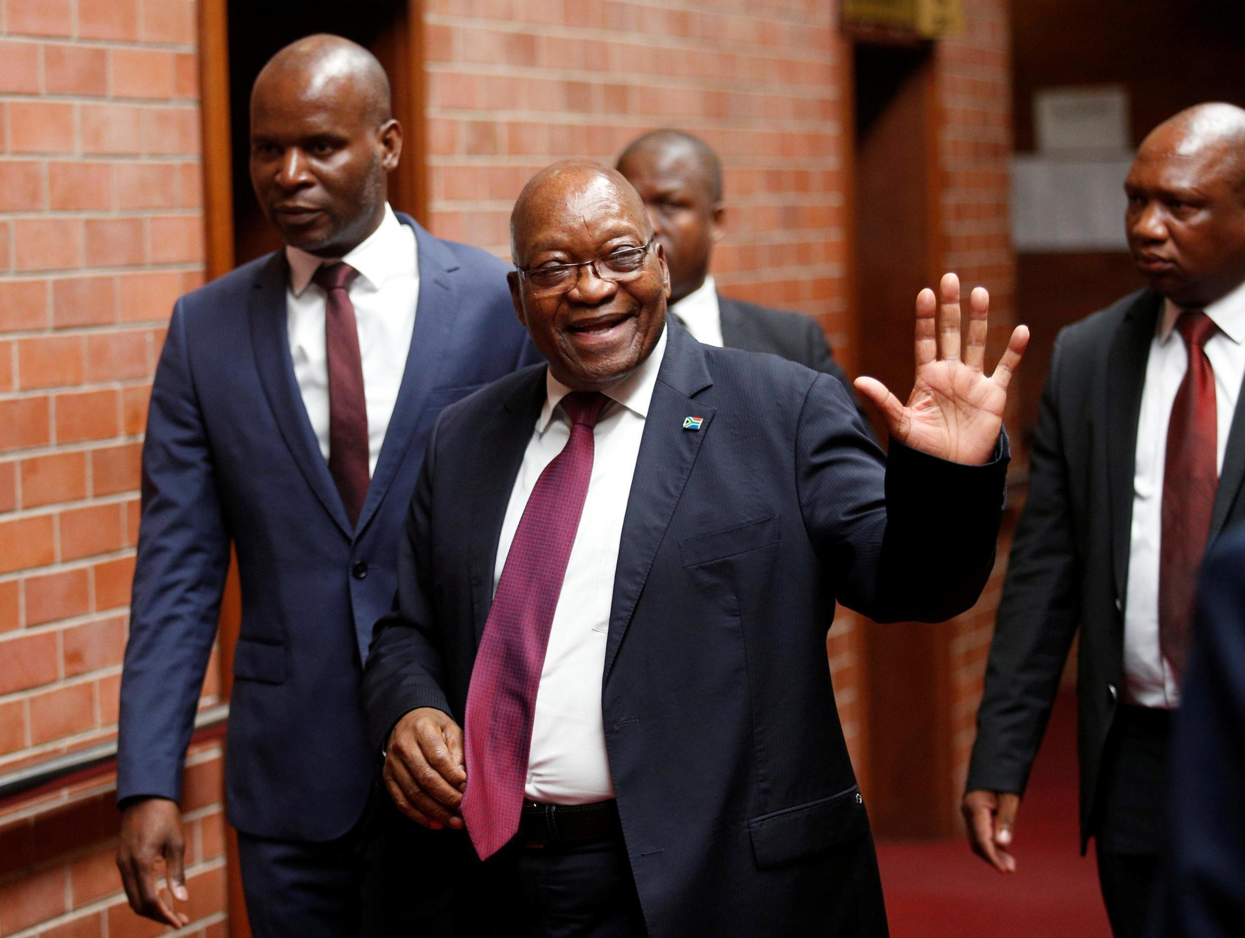 South African former president, Jacob Zuma, leaving the Pietermaritzburg courtroom.