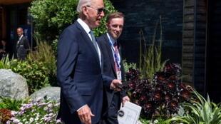 美国总统拜登与国家安全顾问沙利文资料图片